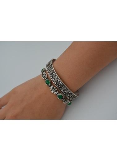 Stoneage Bileklik Yeşil Bohem İkili Antik Gümüş Gümüş